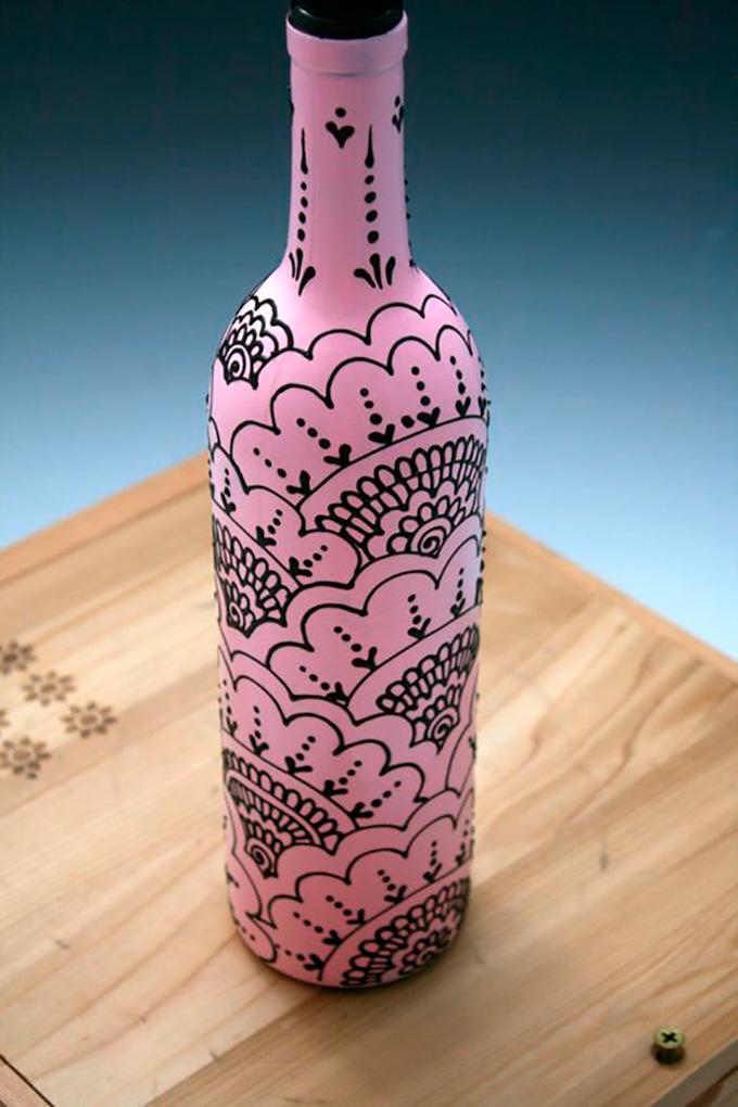 Роспись бутылок своими руками 91