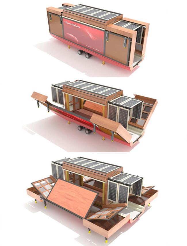 Проект дома от Mehdi Hidari Badie design - полная автономность за счет большого количества солнечных батарей за раскладывающимися панелями. В разложенном состоянии дом получает крыльцо и веранду. Остается только добавить навес