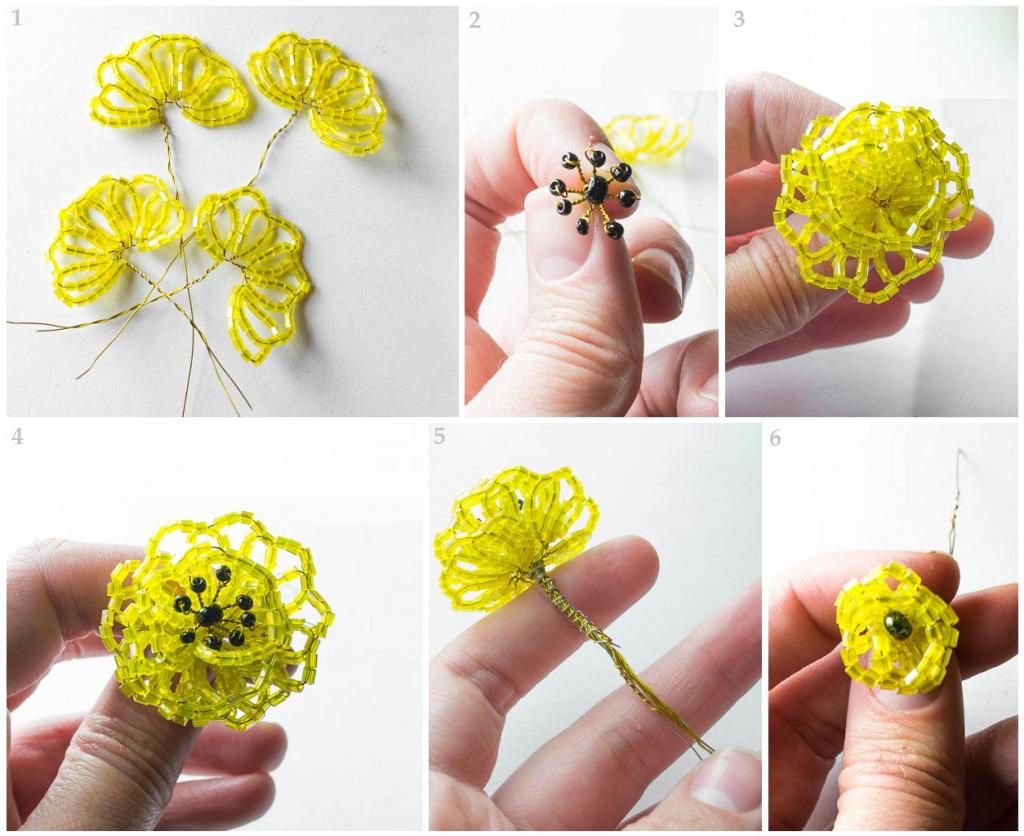 Сплести цветы из бисера своими руками 32