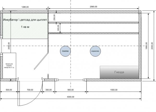 Схема удобного размещения функциональных частей курятника