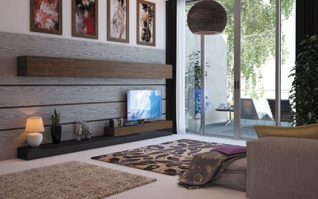 Гостиная комната с минимальным мебельным гарнитуром в теплых тонах