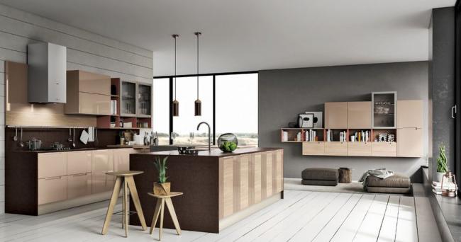Гармоничное оформление пространства кухни и зоны отдыха