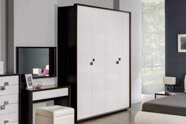 Спальный гарнитур в стиле хай тек в классическом черно-белом цвете
