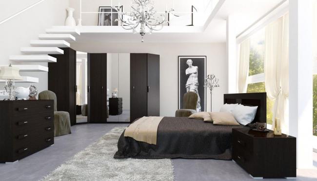 Игра контрастов в просторной спальне двухуровневой квартиры-студии