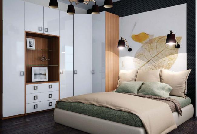 Природную гармонию цветовой палитры оформления комнаты дополняет мягкая кровать