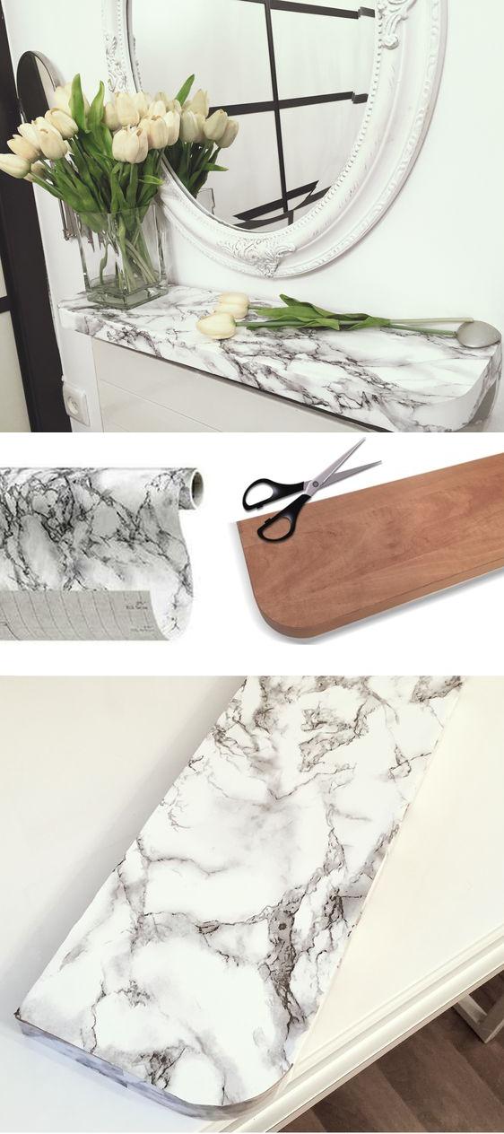 Краткая инструкция по созданию консольного столика из мрамора при помощи самоклеющейся пленки