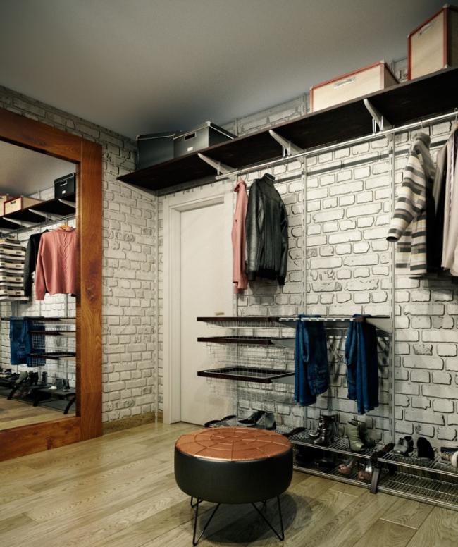 Кирпичная кладка на стенах - популярная отделка для прихожей в стиле лофт