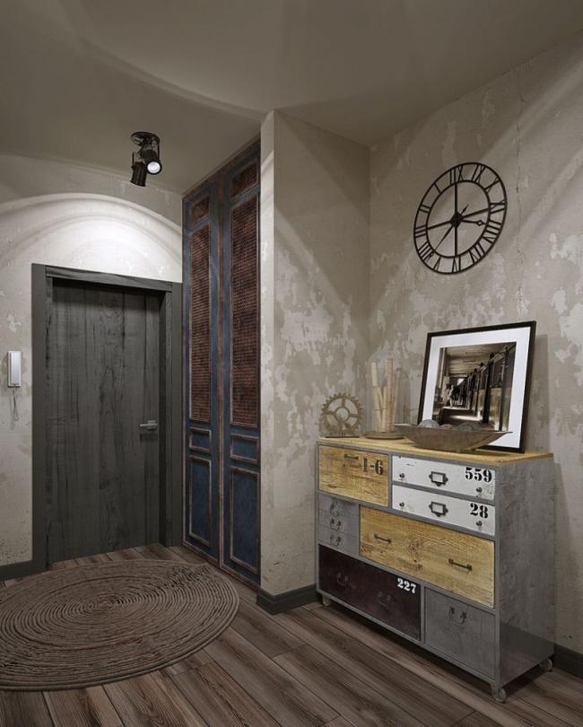 Серая цветовая гамма подойдет для лофта с эффектами состарившейся мебели, бетонными стенами и специальным точечным освещением