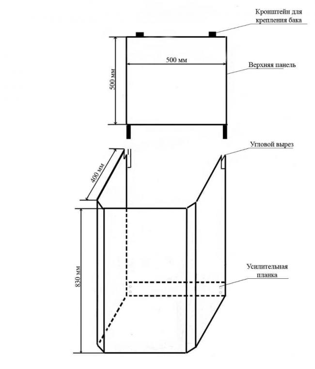 Схема постройки тумбы для дачного умывальника