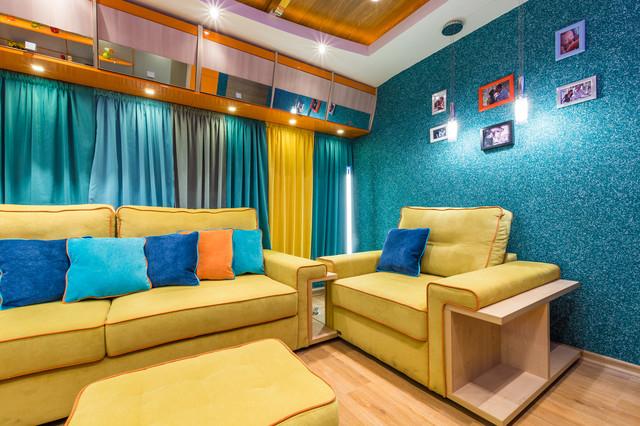 Гостиная в пляжном стиле с оформлением стен морского оттенка