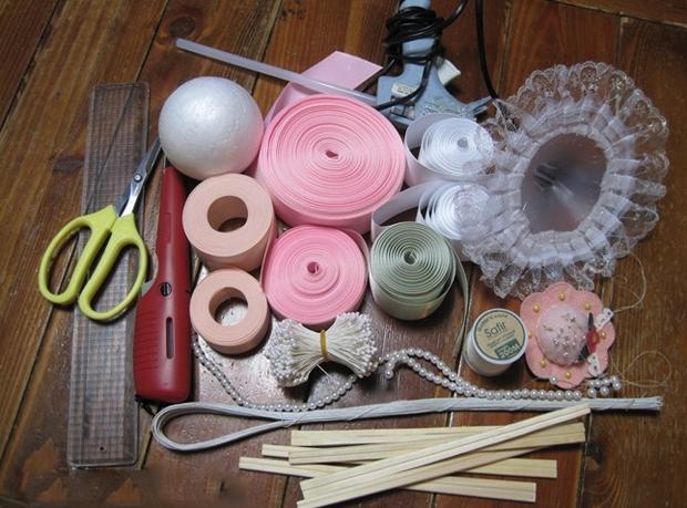 Инструменты необходимые для создания цветов из атласных лент