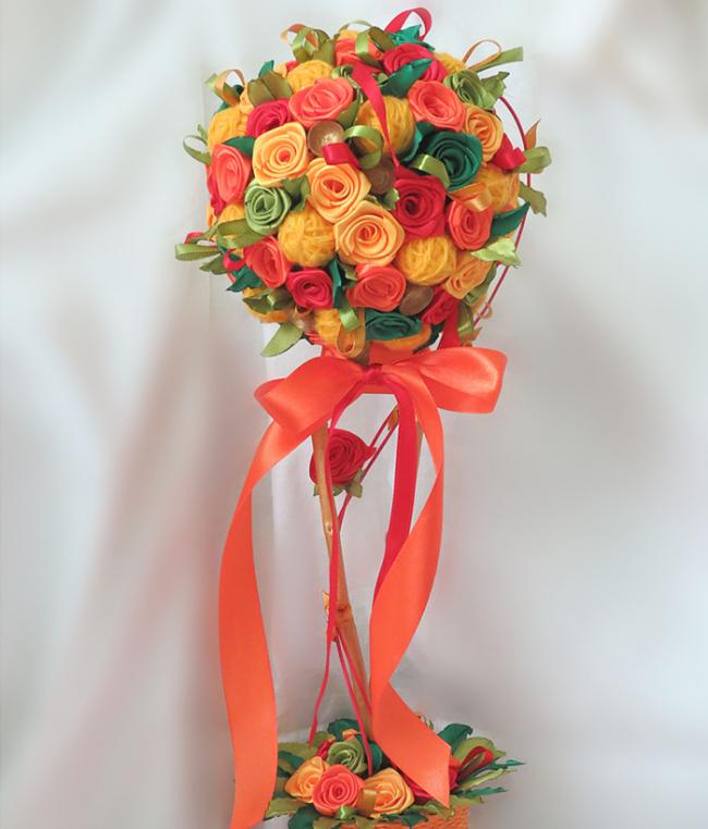 Цветы из атласных лент: яркий букет невесты из атласа