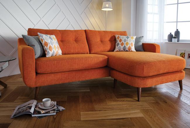 Мягкий диван Лиссабон оранжевого цвета