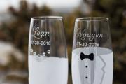 Фото 20 Декор свадебных бокалов: избранные мастер-классы и трендовые идеи оформления в 2017 году