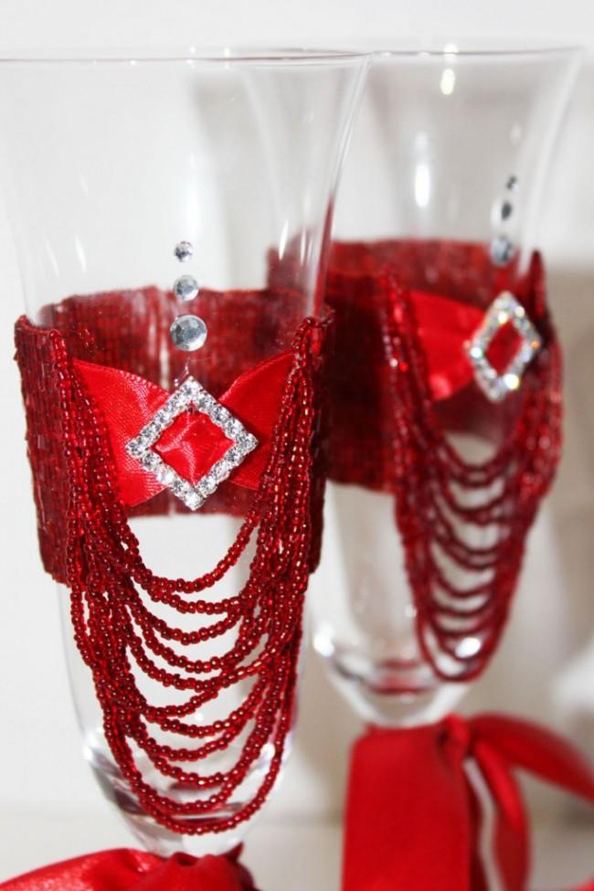 Оформление бокалов на свадьбу, хоббин ДОМ