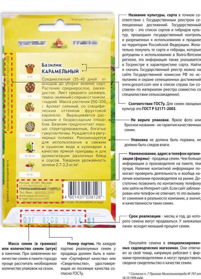 Правильный пакет с семенами цветов должен соответствовать всем требования, указанным на фото