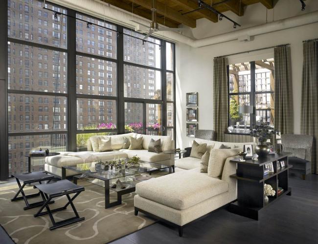 """Для лофтовых помещений с высокими потолками и большой площадью возможеш вариант размещеня тандема из """"зеркальных близнецов"""""""