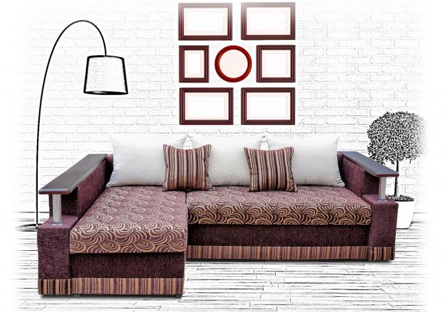 Интересная комбинированная обивка дивана создает теплую атмосферу в помещении