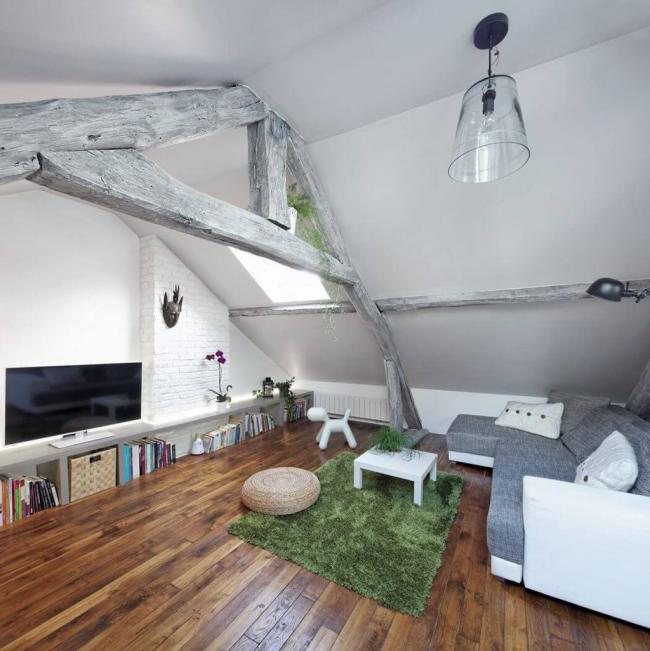 Угловой диван Амстердам в небольшой гостиной лофт