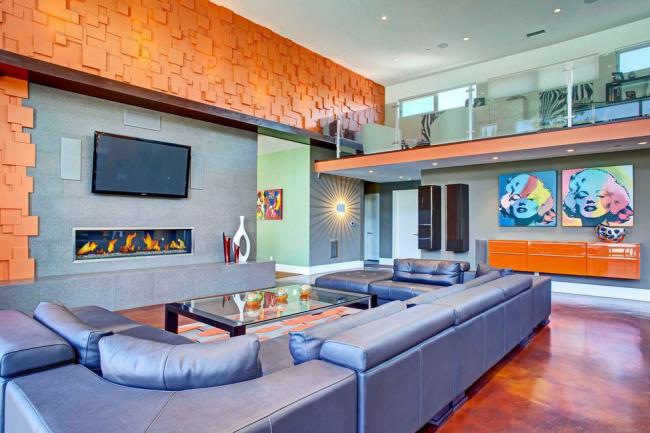 П-образное продолжение углового дивана в гостиной в стиле эклектика