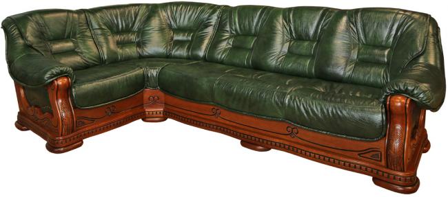 Роскошный диван из дерева и кожи в стиле Барокко