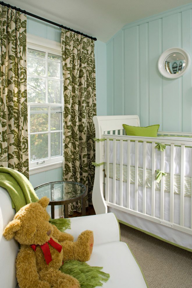 Интерьер детской с элементами декора зеленых отенков