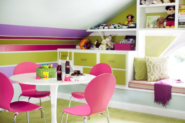 Оливковый оттенок - положительный и эффективный вариант для оформления детской комнаты