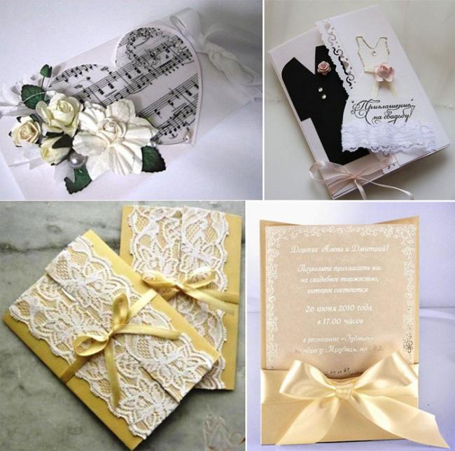 Несколько примеров приглашений на свадьбу своими руками в технике скраббукинг