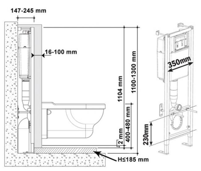 Инсталляционная система подвесного унитаза