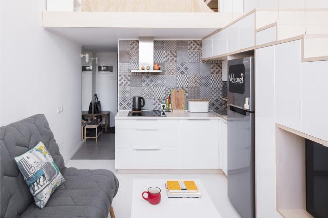 Стильная кухня-студия в скандинавском стиле