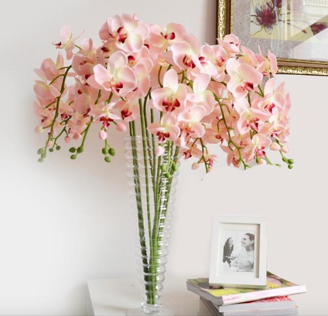 Розовые орхидеи органично впишутся в светлый дизайн помещения