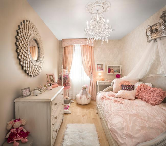 Кремово-розовая комната маленькой принцессы