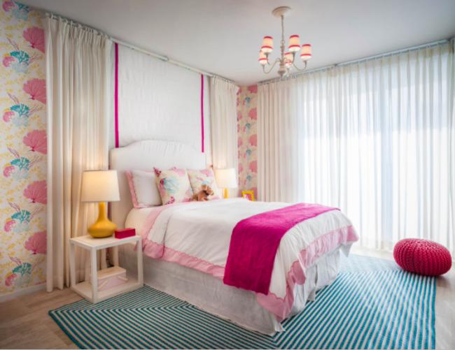 Розовый цвет популярен в детских комнатах