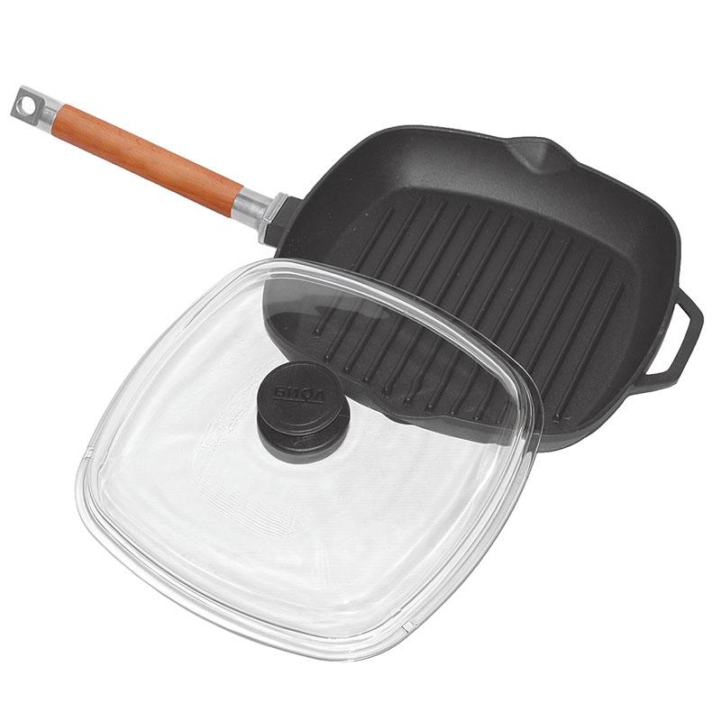 Чугунная сковорода-гриль с крышкой прессом ✅️Лучшие модели