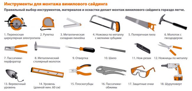 Необходимые инструменты для монтажа виниловых заготовок для наружной отделки