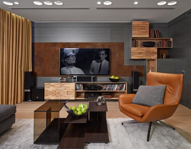 Образцом для подражания может стать гостиная в стиле неоклассика, оформленная в осенней палитре