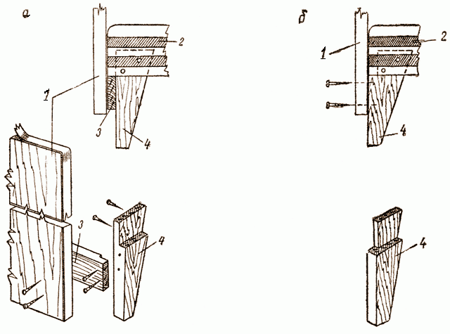 Ножки для дивана из дерева: а)вид сбоку; б) вид в перспективном разъеме
