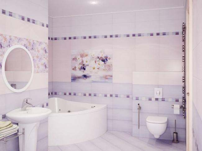 Романтическое настроение в интерьере ванной комнаты