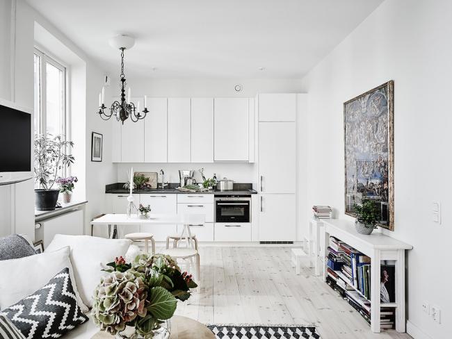 Белая мебель прекрасно впишется в интерьер, оформленный в скандинавском стиле