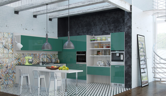 Угловая мини-кухня в цветном исполнении