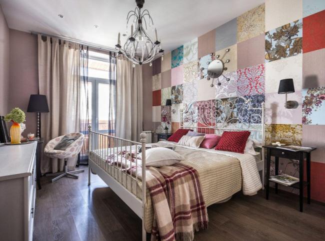 Стильная спальня, оформленная по типу пэчворка