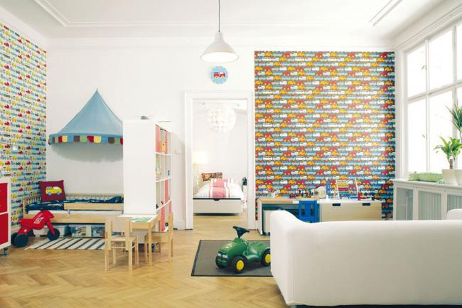 Яркое оформление основных зон детской комнаты