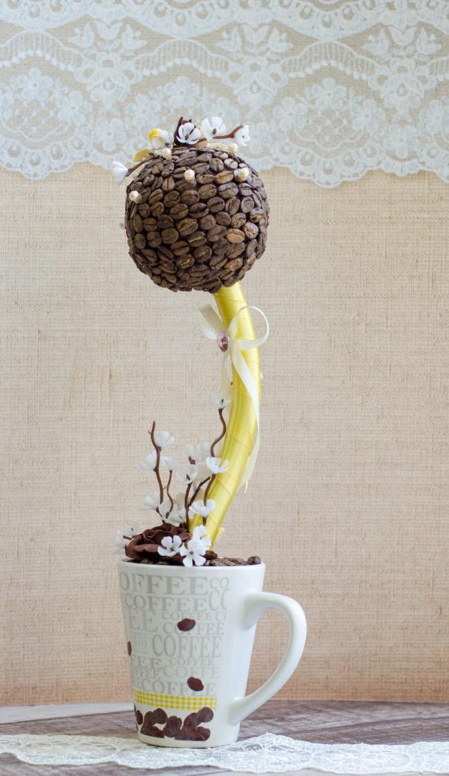 Украшения интерьера из кофейных зерен наполнят комнату приятным ароматом