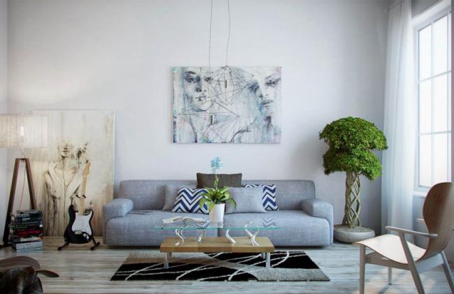 Портретное изображение, украшающее стену гостиной
