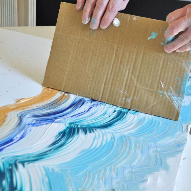 Работа красками, с использованием подручных средств