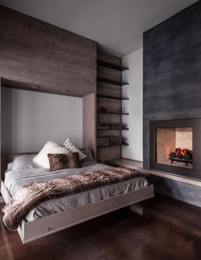 Двухспальная подъемная кровать в современной спальне