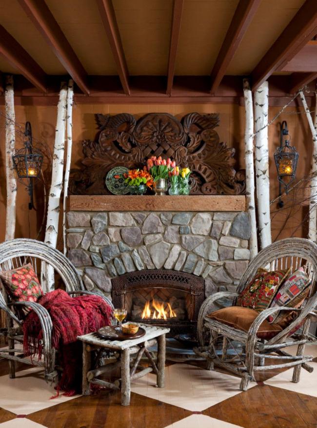 Деревянный декор камина