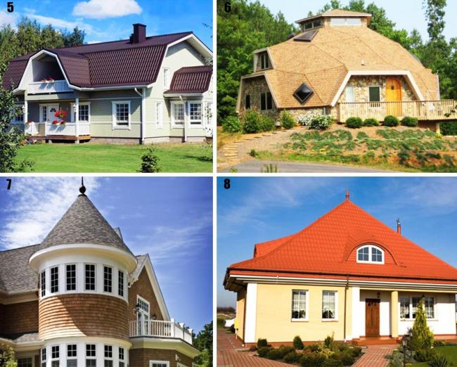 Виды крыш: 5 — ломаная; 6 — купольная; 7 — конусная; 8 — шатровая