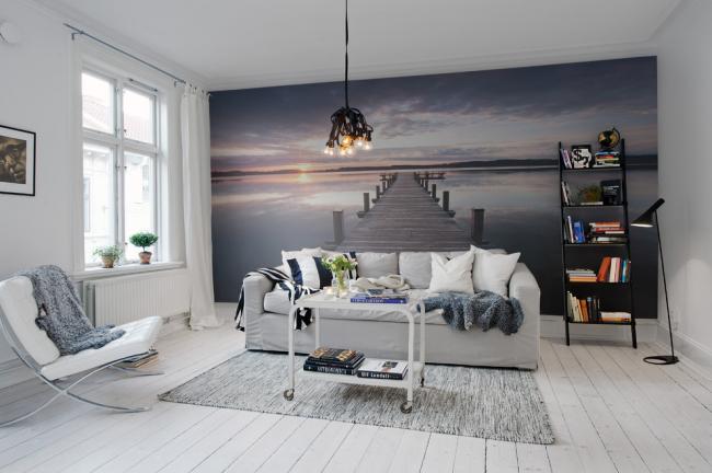 3D-фотообои в интерьере белоснежной гостиной