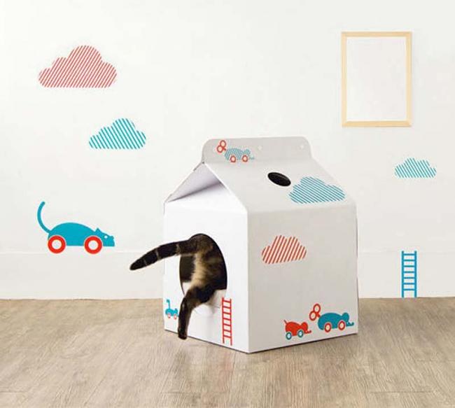Кошачий уголок из картона своими руками